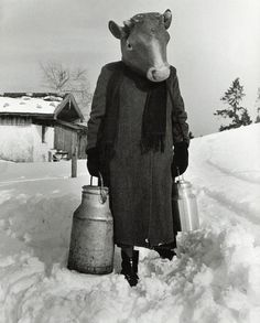 ...she's got fresh milk.  Herbert List 1960 Carnival on skis Germany