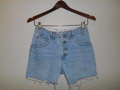 Vintage 90s Guess denim jean shorts button by ATELIERVINTAGESHOP