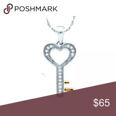 Sterling Silver Diamond Key Pendant ❤️ 1/20 Cttw Sterling Silver Diamond Key Womens Charm Fashion Pendant 2-tone Love Heart 1/20 Cttw  Product Specification Metal Purity	Sterling Silver Diamond Carat	1/20 Ct.t.w. Diamond Clarity / Color	I2-I3 / H-I Length	17 mm ( .67 inches ) Width	22 mm ( .87 inches ) Gram Weight	.83 grams (approx.) Style	Keys Includes chain?	Not included Item Number	-6065553AW Jewelry