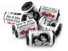 Wedding Favours - Love Heart Sweets with Colour Foil choices - - Mrs & Mrs Wedding Favours Love Hearts, Wedding Favour Sweets, Wedding Favors, Love Heart Sweets, Mint Sweets, One Design, 5 Years, Choices, Just Married