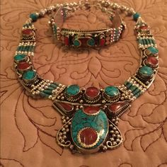 """Turquoise & Coral Silvertone Bibb Necklace Handmade vintage bohemian style turquoise & coral necklace. Inner measurement approx. 15"""" Jewelry Necklaces"""