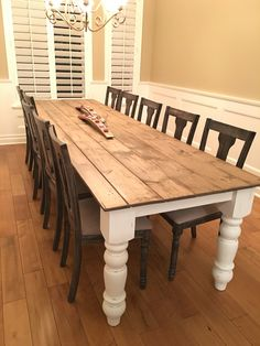 DIY FARMHOUSE TABLE. My husband made my 10 foot 8 inch farmhouse table. Top made with shiplap. I painted and distressed it. Legs and apron ordered from Osborne Wood Products. It came out great! But you have to do cross pieces underneath for stability.