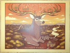 2016 The Avett Brothers - Charlottesville Gold Variant Silkscreen Concert Poster by Status
