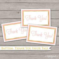 Baptism Favor Tags - LDS Girl Gift Label Thank You Digital Printable Decor Coral Pink Gold Baptismal Celebration Party Baptism Decoration