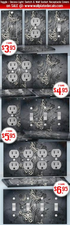 DIY Do It Yourself Home Decor - Easy to apply wall plate wraps   Old Fashion Moths  Brown flowers and moths on grey  wallplate skin stickers for single, double, triple and quadruple Toggle and Decora Light Switches, Wall Socket Duplex Receptacles, and blank decals without inside cuts for special outlets   On SALE now only $3.95 - $6.95
