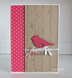 Stampin' Up! ... handmade card from stampin with beemybear ... clean and simple look .... kraft and red with white adornments ... cute two step punched bird with negative space punched heart ... sweet!