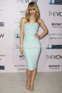 Rachel McAdams Strapless Knee Length Prom Cocktail Dress'The Vow' LA Premiere - TheCelebrityDresses