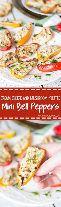 These delicious and colorful Mini Cream Cheese Stuffed Peppers are also packed with mushrooms, walnuts and other goodies. The perfect appetizer!
