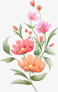 Flower Drawing Discover Spring Flowers In Full Bloom Flowers Illustration, Illustration Blume, Floral Illustrations, Pastel Flowers, Botanical Flowers, Spring Flowers, Tropical Flowers, Art Floral, Watercolor Flowers