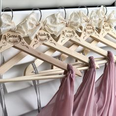 Personalized bride hanger and matching bridesmaid hangers. Natural solid wood wedding dress hanger personalized with a name and banner with roses by ScisorMill Bridesmaid Dress Hangers, Wedding Dress Hanger, Wedding Hangers, Best Bridesmaid Gifts, Bridesmaid Proposal, Personalized Hangers, Personalized Wedding, Bride Hanger, Getting Ready Wedding