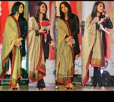 Nice dupatta and tunic combination - Anushka In Sabyasachi At Greeku Veerudu Audio Launch