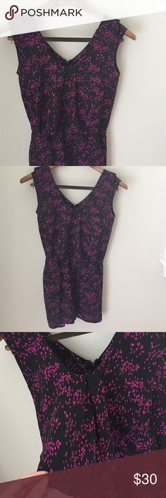 Central Park west floral romper Black and purple romper. Has a ruffled neck line in the front and back. Size xs Central Park West Other