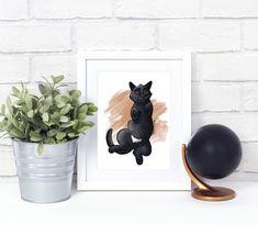 Black Cat Green Eyes Cat Print Pet Presents Cat Lover Gift Star Wars Decor, Star Wars Art, Gifts For Pet Lovers, Cat Lovers, Caricature, Black Cat Art, Black Kitty, Cat Art Print, Dog Poster