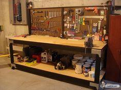 Diy Workbench With Pegboard As Heavy Duty Steel