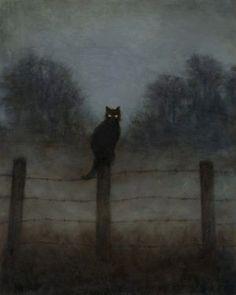 Gravure Illustration, Black Cat Illustration, Black Cat Art, Black Cats, Black Cat Drawing, Black Cat Painting, White Kittens, Arte Obscura, Creepy Art
