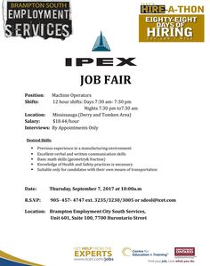 the tcet hire a thon continues with the ipex job fair thursday september 7 at 10am at tcet_bramptonsouth hiring machine operators 1844 per hour