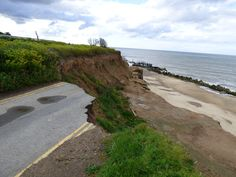 The end of the road in Happisburgh - shows the devastation caused by coastal erosion in the area - only a few years ago this was the road to the car park.