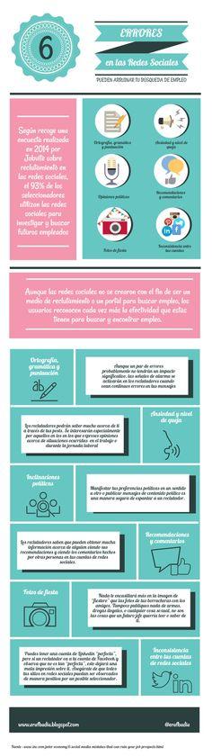 6 errores en redes sociales pueden arruinar tu búsqueda de empleo . #empleo #infografia #infographic #rrhh http://erafbadia.blogspot.com.es/2015/08/6-errores-en-redes-sociales-pueden.html