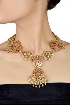 Silver Gold Plated Floral Crystal & Metal Drops Necklace