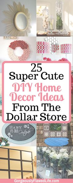 Inexpensive Affordable Cute DIY Home Decor Ideas From The Dollar Store Dollar Store Diys, Dollar Store Decorating, Budget Decorating, Cute Home Decor, Inexpensive Home Decor, Diy Home Decor On A Budget, Diy Home Decor Projects, Diy Room Decor, Home Decor Furniture