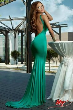 Mint open back dress
