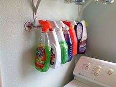 Use an IKEA Bygel rail to store spray bottles on a wall or in a cabinet. Use an IKEA Bygel rail to s Laundry Room Organization, Laundry Storage, Laundry Room Design, Storage Organization, Organizing, Laundry Rooms, Storage Ideas, Basement Laundry, Ikea Laundry Room Cabinets