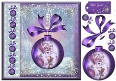 Beautiful Purple Santa Bauble topper on Craftsuprint designed by Julie Hutchings - Beautiful card front with bauble and Father Christmas with decoupage and sentiment tag Happy Christmas - Now available for download!