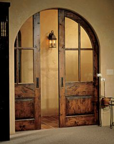 Pocket doors, so nice to tuck the doors away like they aren't there. Much more inviting than showing the doors and the option of closing off the room. The Doors, Windows And Doors, Sliding Doors, Barn Doors, Arched Doors, Entry Doors, Patio Doors, Front Entry, Barnwood Doors