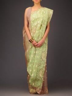 Beige-Green Cotton Jamdani Saree