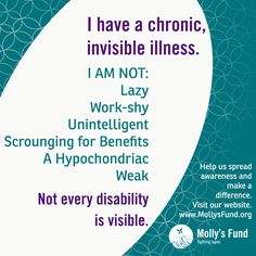 Chronic, invisible illnesses are frequently misunderstood and those who suffer are often unfairly judged. Help us raise awareness for invisible illnesses like fibromyalgia. Chronic Migraines, Chronic Illness, Chronic Pain, Rheumatoid Arthritis, Endometriosis, Mental Illness, Medan, Lupus Awareness, Disability Awareness