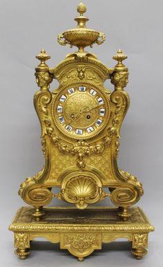 19TH C. GILT BRONZE CLOCK