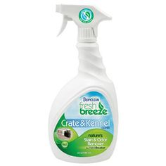 **TropiClean Fresh Breeze Crate & Kennel Stain & Odor Remover, 32 oz.** Crate & Kennel cleaner uses specially selected microorganisms found in nature to neutralize unpleasant odors and clean the effected area of oily stain buildup. Contains inhibitors to control odors that re-activate after the initial application to combat and prevent odors. 32oz Retail Size spray bottle. This product is not recommended for use on leather or wool.