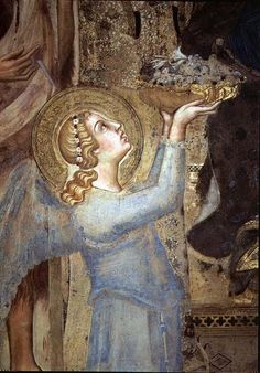 Angel Offering Flowers to the Virgin` Fresco by Simone Martini - 1315 Siena, Italy