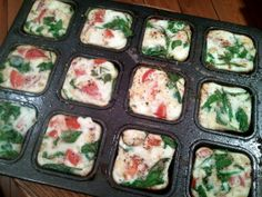 Breakfast Frittatas Egg Recipes, Whole Food Recipes, Healthy Recipes, Whole Eggs, Muffin Tins, Frittata, Griddle Pan, Spinach, Oven