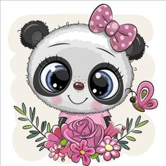 Cartoon Panda, Cute Cartoon Animals, Cute Animals, Bow Vector, Vector Free, Cute Bears, Cute Images, Hello Kitty, Super Cute