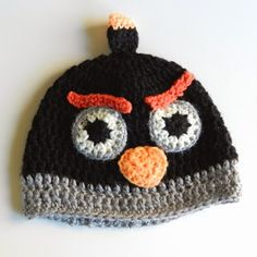 Crochet Black Angry Birds Hat
