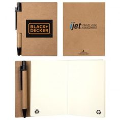 The Aria Recycled Notepad. This notebook comes with a heavy cardboard cover made from recycled paper and has 80 unlined easy to tear pages of recycled blank paper. Each page and the back cover have the recycled logo on them. A blank pen made from recycled paper with black ink is included.
