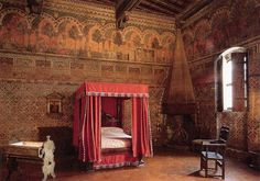 Palazzo Davanzati ~  Florence ~ mid-14th c. ~ Bedroom of the landlady, decorated with frescoes depicting the legend of the Chatelaine of Viergy