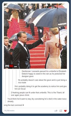 hahaha (altho im sick of the titanic comments, physics people! the door would've sunk with two people on it!)