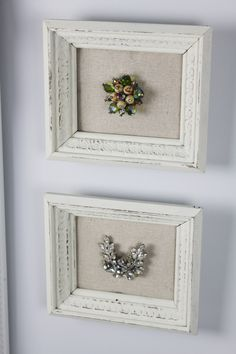 From Maple and Magnolia.  I love this idea, framing sentimental jewelry from loved ones. Would be cute for the guest bedroom or powder room.