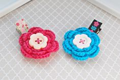 2 Colorful NO SLIP Crochet Hair Clips, Baby Crochet Hair Barrettes,Toddler Girl Hair Accessory, Multicolor Hairclips,Pink and Blue Hairclips by SpunkyBunny