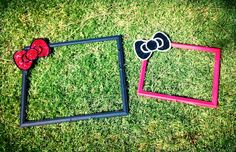 Hello kitty picture frames for party photo booth! Fun easy DIY party project