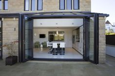 floor to ceiling cupboards Lean To Conservatory, Conservatory Kitchen, Conservatory Design, Bifold Doors Extension, Conservatory Extension, New Kitchen Designs, Kitchen Ideas, Double Vitrage, Glass Room