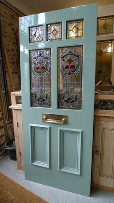 Art Nouveau Stained Glass Door Front Door - Just gorgeous! Victorian Front Doors, Wooden Front Doors, Front Door Entrance, Door Entryway, House Front Door, Painted Front Doors, Glass Front Door, Front Entrances, Front Door Decor