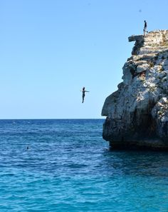 The short way down!  Cliff jumping in Mallorca, Spain
