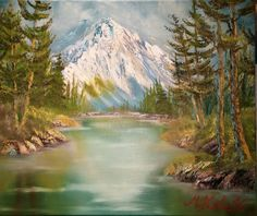 (c) Majestic Mountain by Marwan Kishek - Oil on Canvas 20 Oil Paint Brushes, Natural Scenery, Landscape Paintings, Oil Paintings, Lake View, Insta Art, New Art, Oil On Canvas, Forest Mountain