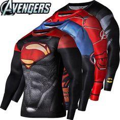 Fitness Compression Shirt Crossfit Bodybuilding Men T shirt 3D Printed Superman Top   #shirt #crossfit #bodybuilding #tshirt #superhero #top #fitnessapparel #activewear #sportswear