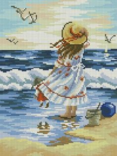 Diy square diamond mosaic painting full embroidery cross stitch cartoon landscape girl on the beach child room decoration gift Cross Stitch Horse, Cross Stitch Sea, Cross Stitch For Kids, Cross Stitch Borders, Cross Stitch Flowers, Cross Stitch Designs, Cross Stitching, Cross Stitch Embroidery, Embroidery Patterns