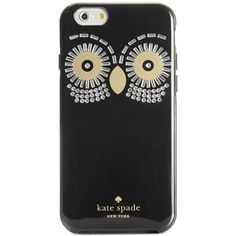kate spade new york Owl Gem iPhone 6 Resin Case ($45) ❤ liked on Polyvore featuring accessories, tech accessories, black and kate spade