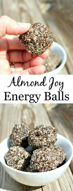 Almond Joy Energy Balls are the perfect healthy snack that are vegan and no bake.  It doesn't get much easier or healthier than that!